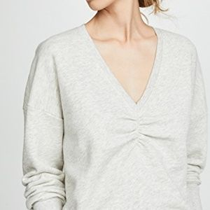 Joie | Warda Ruched Knit Sweatshirt Heather Gray M